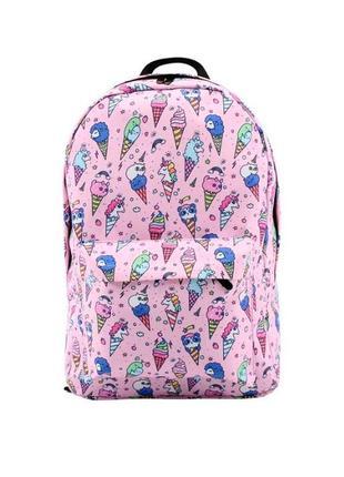 Рюкзак с единорогами розовый для школы