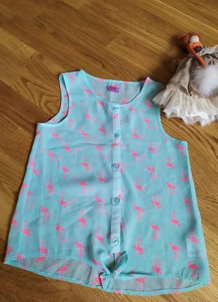 Блузка з принтом фламінго