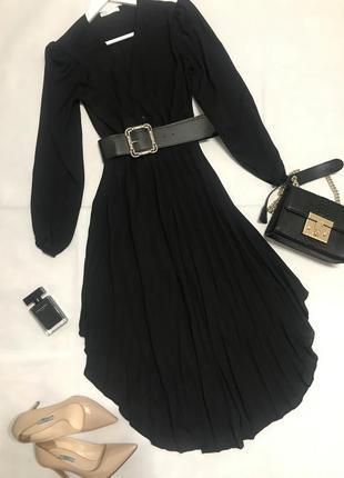 Чёрное шифоновое платье плиссе миди8 фото