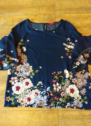 Женская блузка с модными рукавами и цветочным принтом
