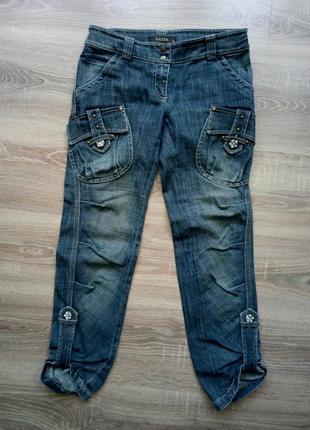 Укороченные джинсы капри бриджи с камушками