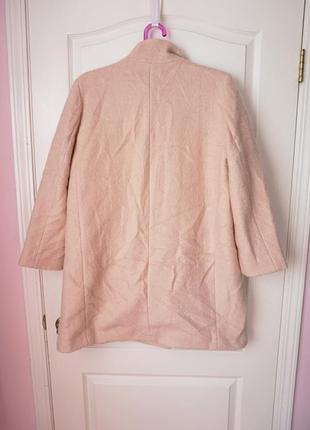 Шикарное шерстяное пальто цвета пудры на осень2 фото