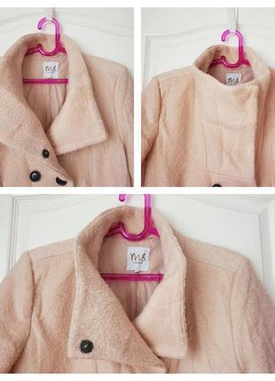 Шикарное шерстяное пальто цвета пудры на осень5 фото