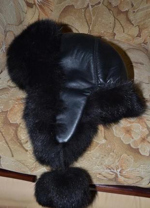 Кожаная шапка,мех песец!!!