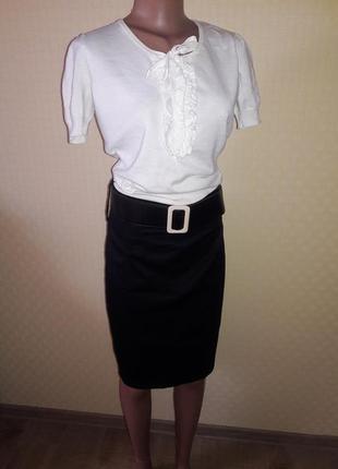 Юбка классическая на завышенной талии и блуза