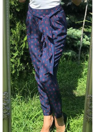 Шелковые брюки dkny в морском стиле
