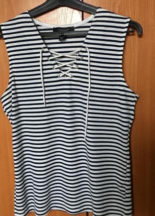 Майка с завязками на груди белая черная синяя в полоску полосатая