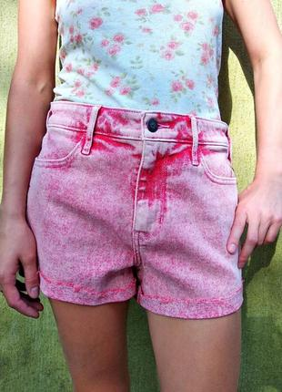 Крутые красно-розовые шорты hollister, завышенная посадка