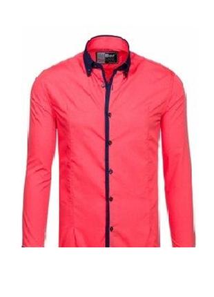 Турецкое качество коралловая мужская рубашка с синей планкой by afish