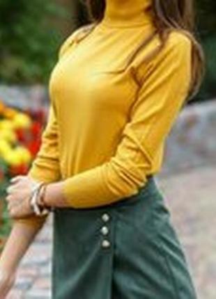 Гольф под горло свитер кашемир шерсть милано горчица цвета2 фото