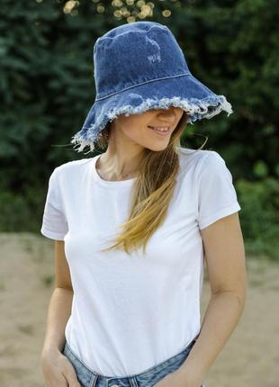 Панама джинсовая, весна лето , бохо стиль шляпа. потертости.