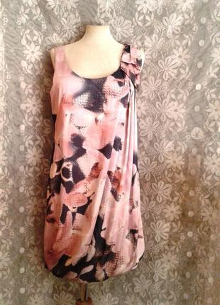 Шелковое платье в пастельных тонах, s-м.