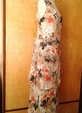 Крепдешиновое вискозное платье с разрезами по бокам,2хl.