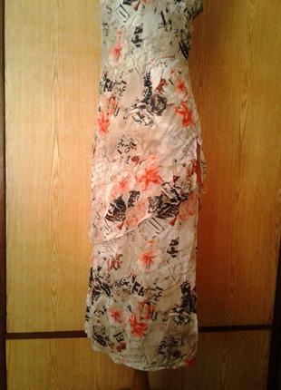 Крепдешиновое вискозное платье с разрезами по бокам,2хl.4 фото