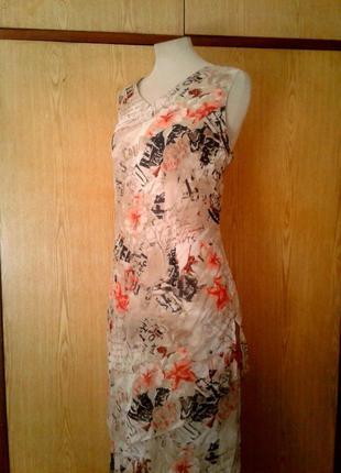 Крепдешиновое вискозное платье с разрезами по бокам,2хl.5 фото