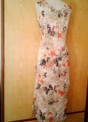 Крепдешиновое вискозное платье с разрезами по бокам,2хl.6 фото