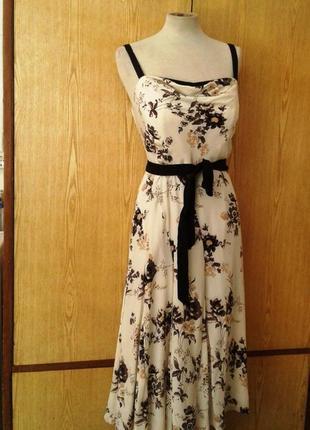 Шелковое платье -сарафан пастельных тонов, xl.