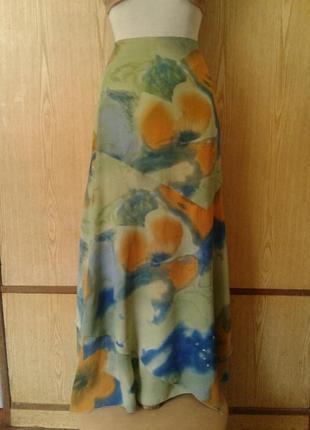 Зеленая крепдешиновая юбка из клиньев разной длины, м.