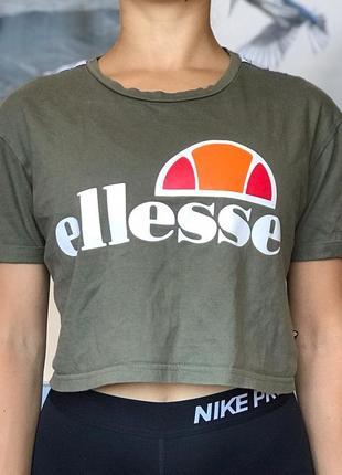Кроп топ ellesse с лампасами размер s футболка оригинал