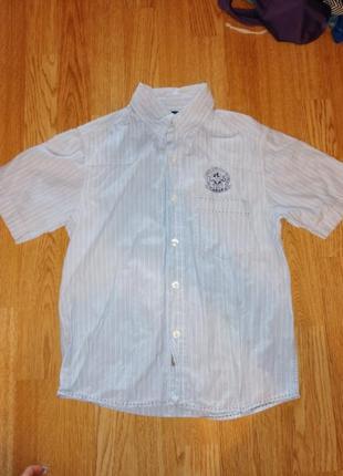 Рубашка на мальчика с коротким рукавом в полоску