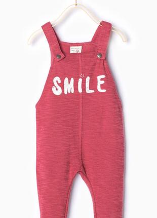 Гламурный/слитный комбинезон/комбез/ромпер на бретелях zara baby girl red slogan smail.