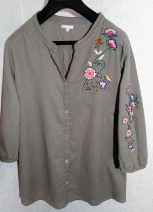 Котоновая рубашка, блуза с вышивкой