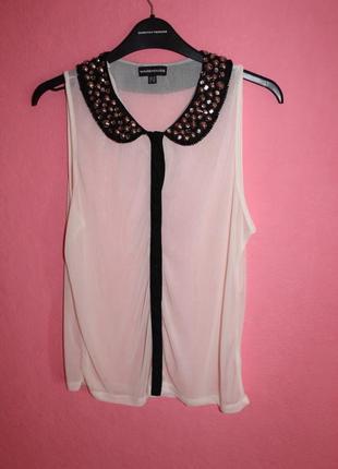 Прозрачная блуза с воротником