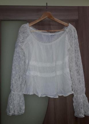 Кружевная кофточка, топ, кроп-топ, блузка, блуза с прозрачными рукавами, тренд 2020