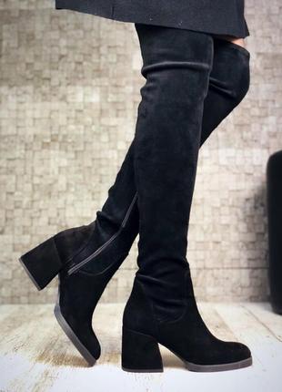 Шикарные замшевые демисезонные сапоги ботфорты на широком каблуке