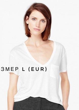 Белая футболка со спущенным плечом и карманом