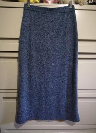 212 трикотажная меланжевая макси юбка размер 10-12