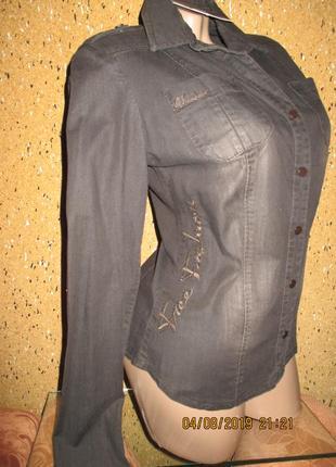 Free joy*шоколадная джинсовая с вышивкой рубашка
