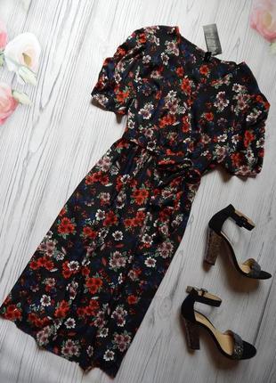 Актуальный сарафан, платье в цветочный принт с пояском. размер 3xl-4xl.