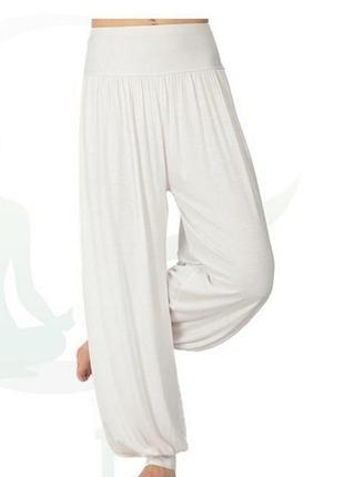 Двойные штапельные брюки-алладины