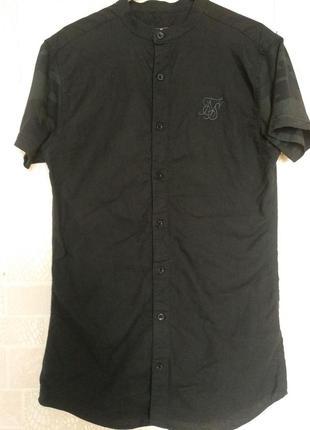 Тренд!!! котоновая рубашка без воротника (стойка)турция