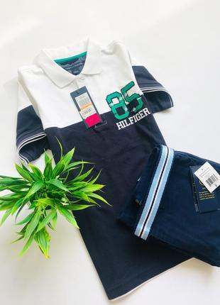 Трендовая футболка-рубашка поло tommy hilfiger для мальчика 7 лет. 100% оригинал!