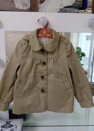 Бежевая куртка, плащик /жакет , пиджак h&m на 4-5 лет