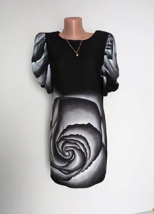 Платье,туника в цветочный принт,роза.pilot. указано 14(42)больше подходит 12(40)