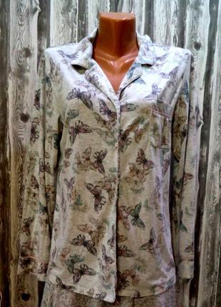 Трикотажная меланжевая рубашка  принт бабочки. верх пижамы.