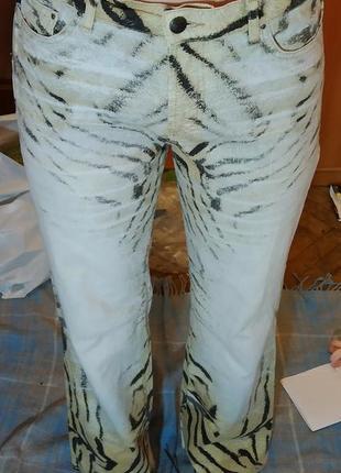 Roberto cavalli just cavalli джинсы винтаж  с животным принтом (зебра, тигр)