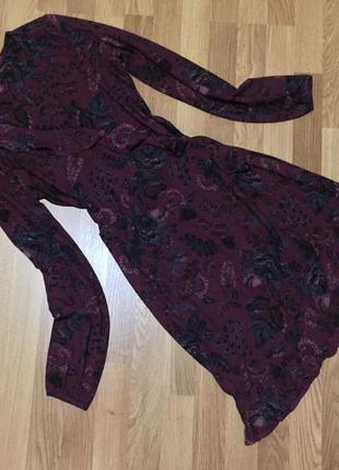 Платье на запах с рюшей next'18 цветочный принт {размер uk 14, eur 40/42}