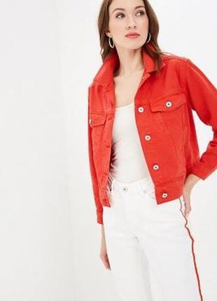 Вельветовая красная джинсовка!скидка только один день!