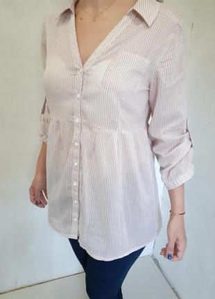 Рубашка #туника #женская #коттон #персик #в полоску #s-м #40-42-44р-р