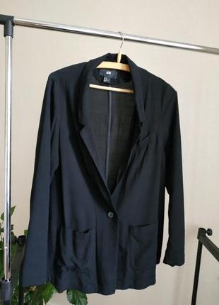 Черный пиджак жакет вискоза h&m
