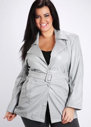 Серый плащ, куртка под искусственную кожу, новый размер xl