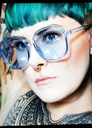 Трендовые цветные синие большие невесомые очки гранды новинка тренд имиджевые