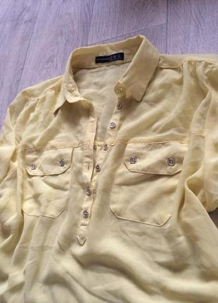 Шифоновая блуза рубашка лимонная atmosphere