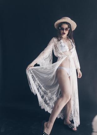 Белый халат для невесты, прозрачная накидка кружевная от украинского дизайнера в пол