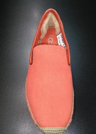 Эспадрильи, слиперы из натурального текстиля и кожи ugg оранжево-коралловые, р. 37