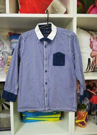 Шкрльная стильная рубашка на мальчика 6 лет